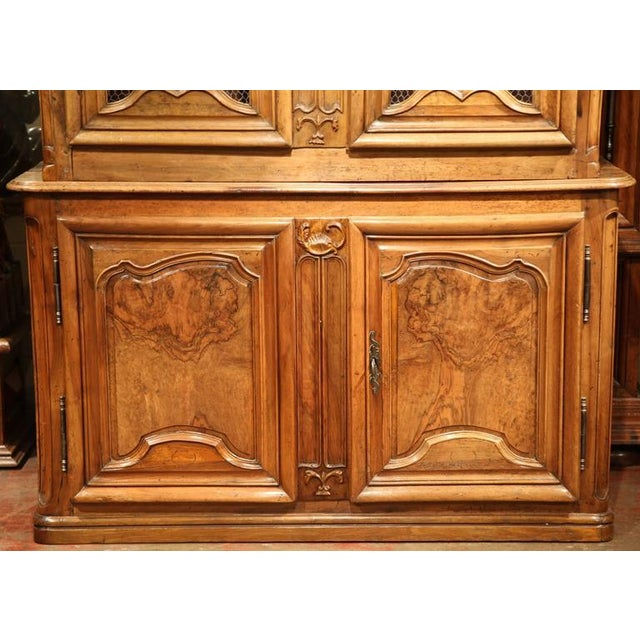 18th Century French Carved Walnut Buffet Deux Corps For Sale - Image 4 of 10