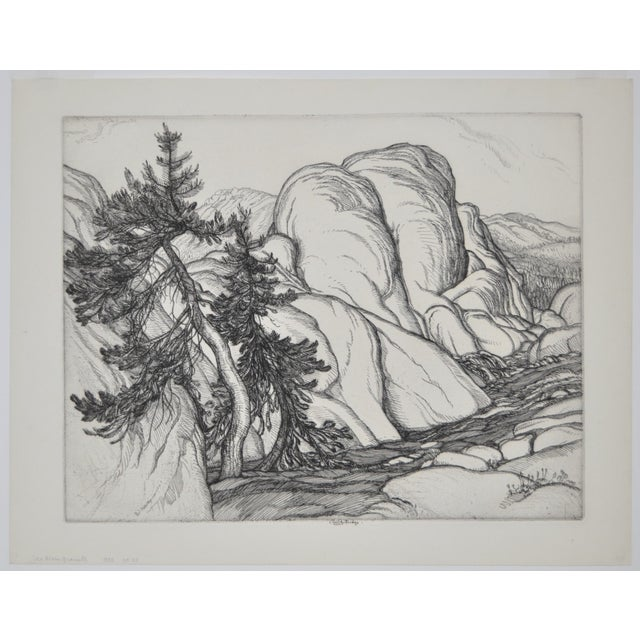 "Fine etching by listed artist Roi Partridge (1888-1984) Titled ""Ice Worn Granite"" circa 1933. From a very limited edition..."