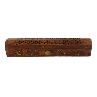 20th Century Boho Chic Incense Box With Inlaid Brass Sun, Moon and Stars For Sale