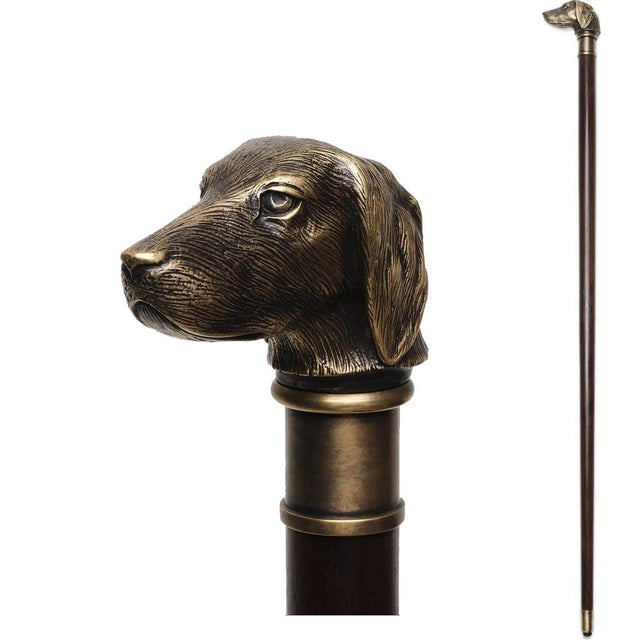 Transitional Scarborough House Dog Head Walking Stick Cane For Sale - Image 3 of 3
