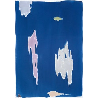 Clifford Still Inspired Cyanotype, 100x70 CM Cyanotpe on Watercolor Paper With a Hand-Painted Touch of Acrylic, 2020 For Sale