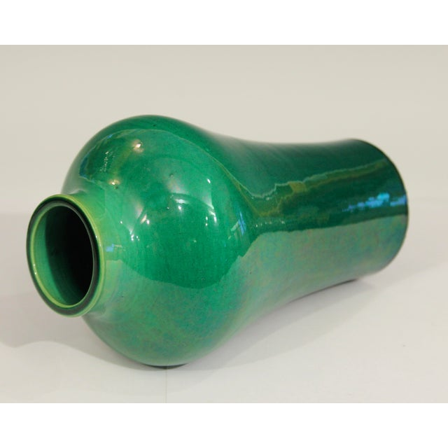 1910s Antique 1910s Awaji Art Nouveau Studio Pottery Meiping Organic Green Monochrome Vase For Sale - Image 5 of 11
