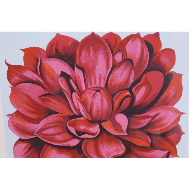 """Realism Signed Serigraph """"Red Dahlia"""" by Lowell Nesbitt For Sale - Image 3 of 6"""