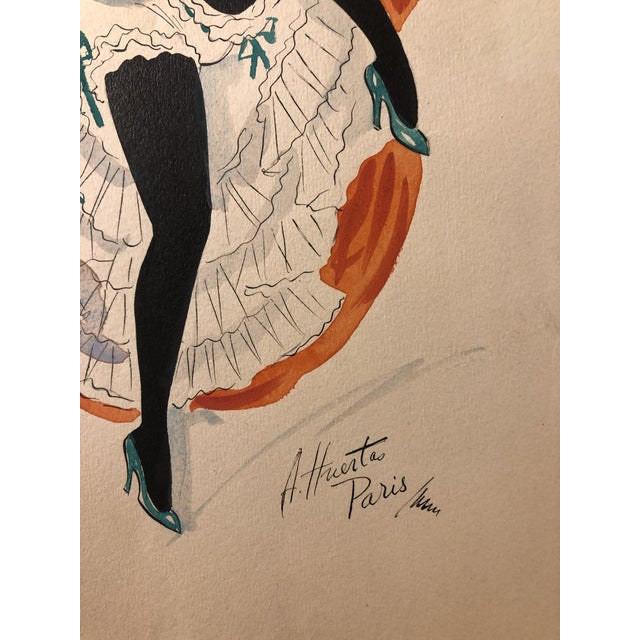 Mid-Century Can Can Dancer Painted in Paris by Alice Huertas For Sale - Image 4 of 5