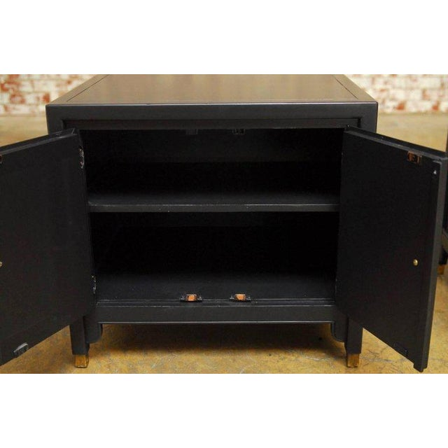 Stylish pair of James Mont style for century furniture black lacquer nightstands. Newly lacquered in a rich matte finish....