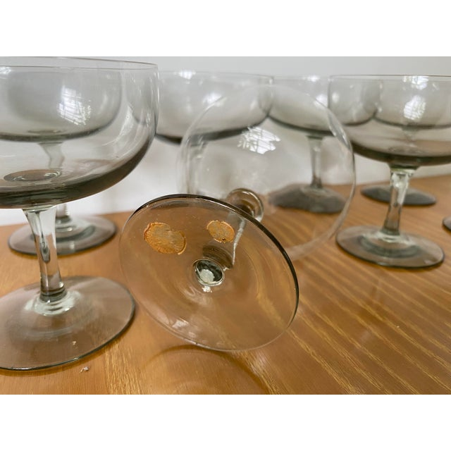Glass 1950s Holmegaard Denmark Elsinore Smoke Glass Stemware - Set of 8 For Sale - Image 7 of 9