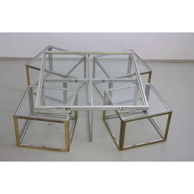1960s Maison Charles Brass Coffee Table with Four Nesting Tables For Sale - Image 5 of 6