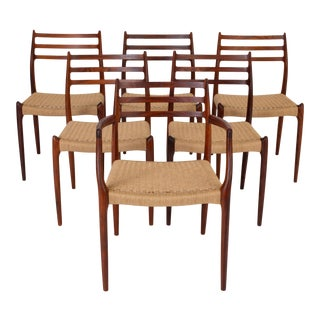 Set of Six Model 78 Rosewood Dining Chairs by n.o. Møller For Sale