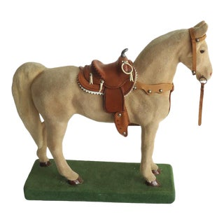 20th Century Americana Flocked Chalkware Horse Statuette For Sale