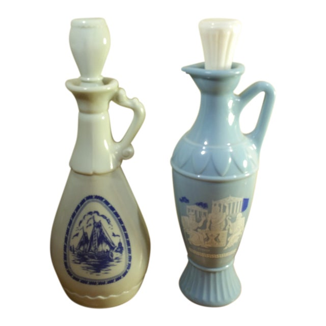 Vintage Jim Beam Milk Glass Decanters - A Pair - Image 1 of 8