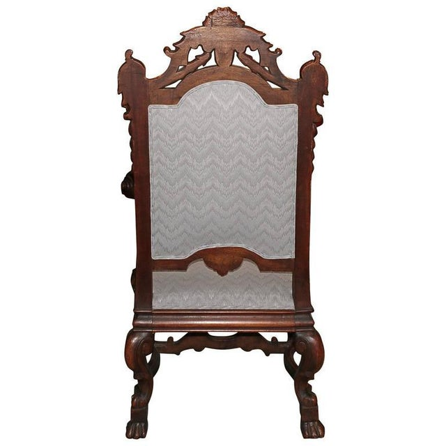 Spanish Hand-Carved Wood With 24-Karat Gold-Plated Bronze Emblem Kings Chair - Image 7 of 11