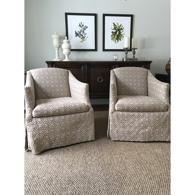 Geometric Pattern Swivel Club Chair - Image 3 of 5