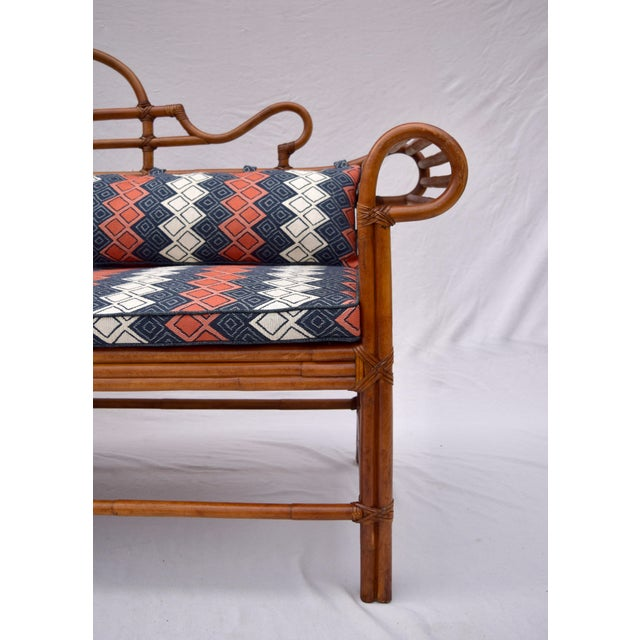 Ink Blue Lane Furniture Bamboo Caned Rattan Chinoiserie Sofa For Sale - Image 8 of 13