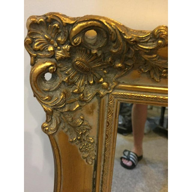 1970's Vintage French Gilded Gold Framed Mirror For Sale - Image 4 of 10