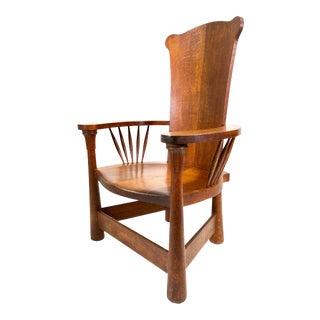 Arts & Crafts Flamed Oak Rolling Throne Barrel Back Chair For Sale