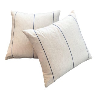British Wool Beige and Navy Blue Pinstripe Pillows (New) - a Pair For Sale