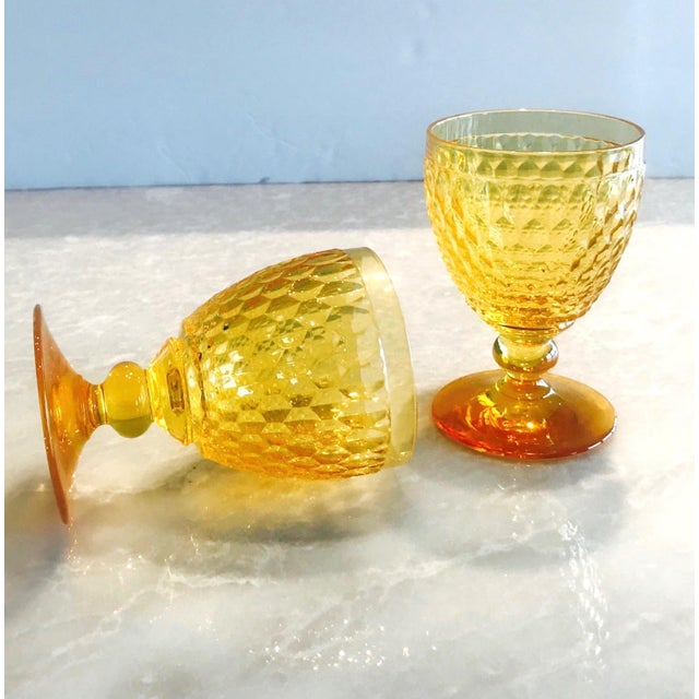 Vintage Crystal Amber Colored Wine Glasses by Villeroy & Boch, Set of Eight For Sale - Image 10 of 13
