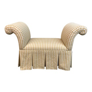 Custom Roll Arm Upholstered Bench For Sale
