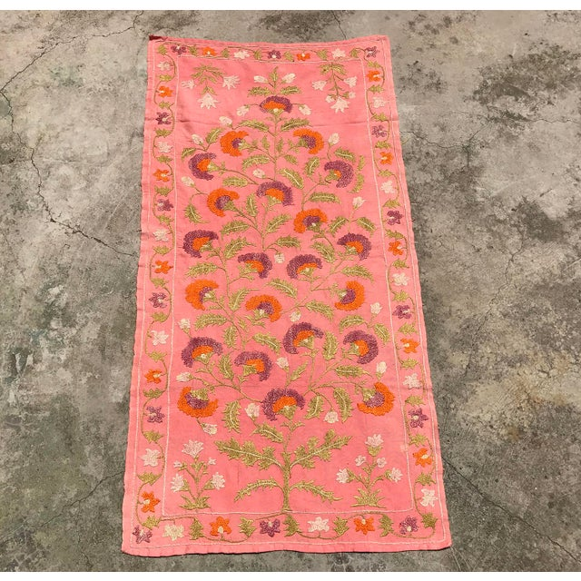 Pink Silk on Cotton Floral Table Runner - Image 2 of 6