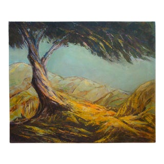 Mid-Century Modern Landscape Painting Lone Tree on Rocky Ledge For Sale