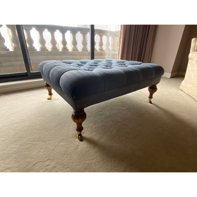 Vintage Periwinkle Blue Robert Allen Upholstery Ottoman For Sale - Image 11 of 12