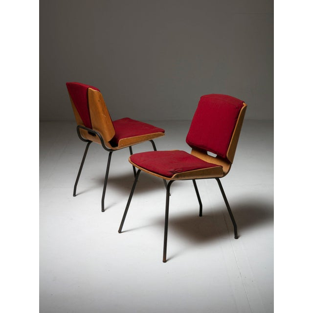 Rare set of two Lucania chairs by Giancarlo De Carlo for Arflex. Metal frame and plywood shells. Romovable upholstery.