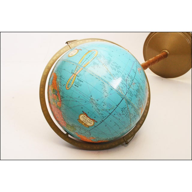 Vintage Revolving World Globe with Wood Pedestal Stand For Sale - Image 10 of 11
