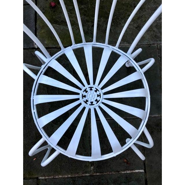 Metal 1930s Vintage Francois Carre White Sunburst Iron Garden Chair For Sale - Image 7 of 12
