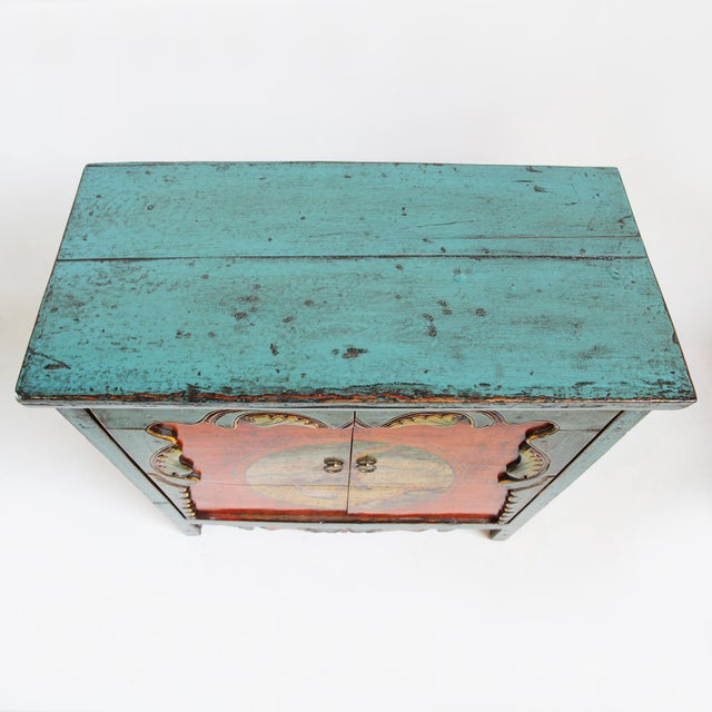 Asian Painted Mongolian Storage Cabinet For Sale - Image 3 of 5