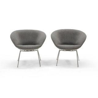 Arne Jacobsen for Fritz Hansen, Restored, Maharam Fabric Pot Chairs - a Pair Preview
