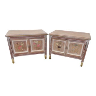 Italian Inlaid Paint Distressed Nightstands - A Pair For Sale