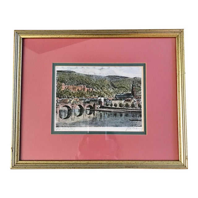 Signed European Hand Tinted Print For Sale