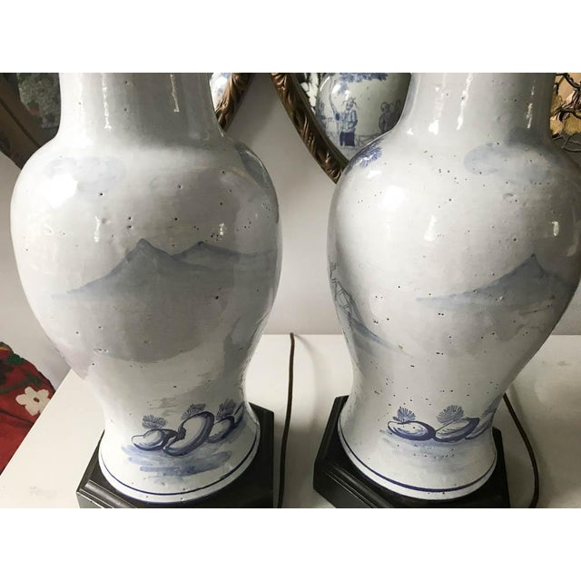 Mid 20th Century Pair, Frederick Cooper Style Blue and White Asian Lamps For Sale - Image 5 of 10