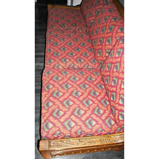Romweber Viking Oak Carved Wood Low-Arm Sofa - Image 8 of 11