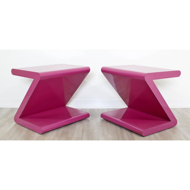 Acrylic Contemporary Modern of Acrylic Z Shaped Side End Tables 1980s Pink - a Pair For Sale - Image 7 of 11