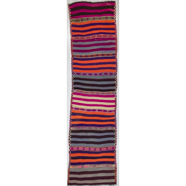 1960s Turkish Striped Kilim Runner For Sale In Los Angeles - Image 6 of 6
