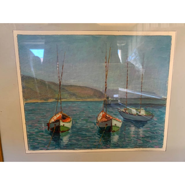 1970s Sailing Impressionist Style and Abstract Framed Paintings - Set of 7 For Sale In Denver - Image 6 of 12