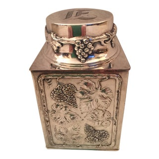 Vintage Silverplate Monogrammed Tea Caddy