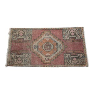 Vintage Turkish Pastel Wool Area Rug Carpet - 1′6″ × 2′11″ For Sale