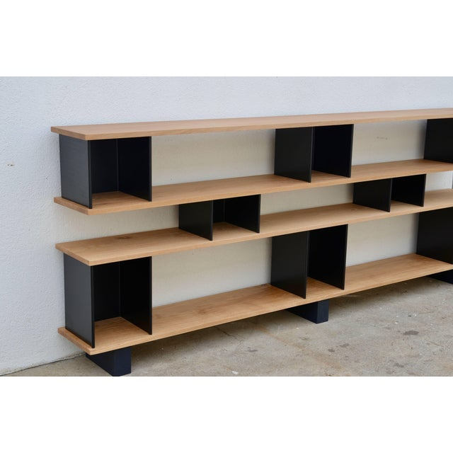"DESIGN FRERES Design Frères Low ""Horizontal"" Matte Black and Polished Oak Shelving Unit For Sale - Image 4 of 7"
