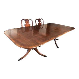 1930s Traditional Mahogany Double Pedestal Dining Table For Sale