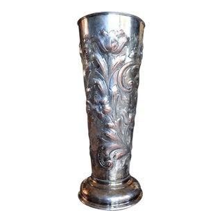 19th Century Art Nouveau Silver on Copper Repousse Vase