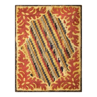 """Antique American Hooked Rug 3'2"""" X 4'2"""" For Sale"""