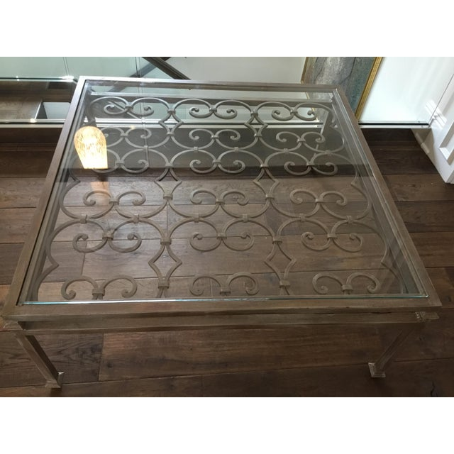 Art Nouveau Scrolling Iron Coffee Table For Sale - Image 4 of 7