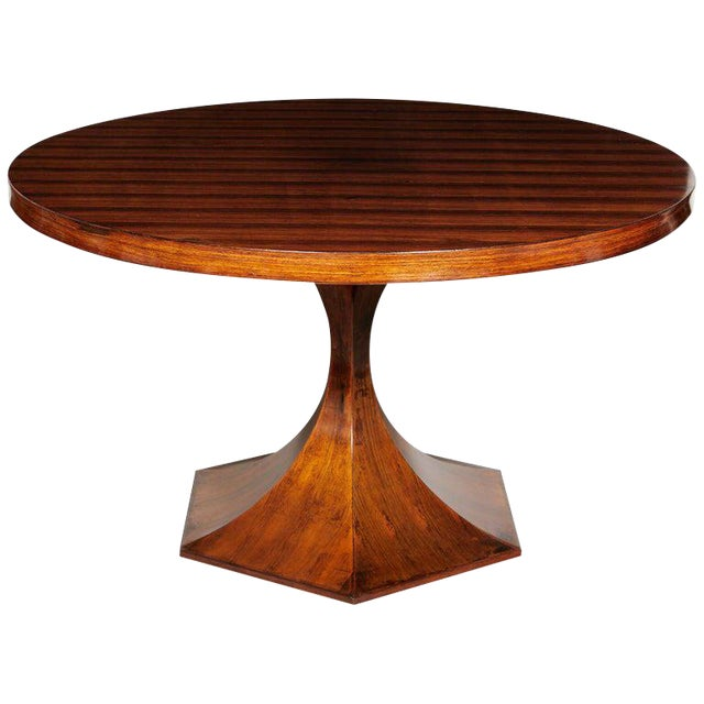 Italian Round Pedestal Dining Table of Palisander Wood For Sale