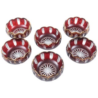 Six Cut-Glass Ruby Red and Gilt Petal Shaped Bowls for Dessert, Soup, Accent For Sale