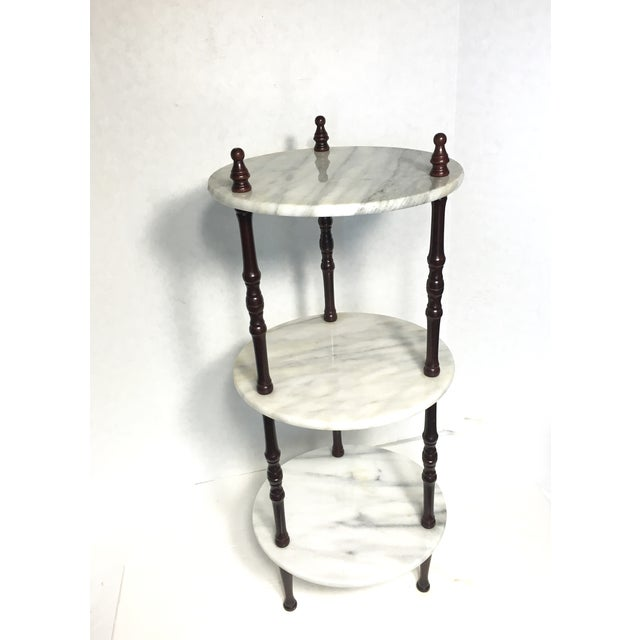 Mid-Century 3-Tier Marble Table Plant Stand - Image 4 of 4
