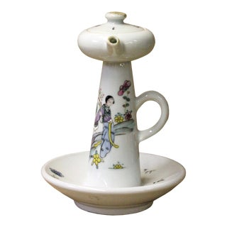 Chinese Ancient Style Porcelain Lady Side Scene Garden Play Drawing Oil Lamp For Sale