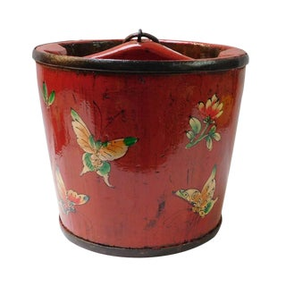 Chinese Butterflies Painted Wood Bucket For Sale