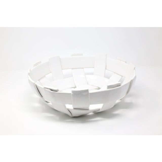 Vintage Handmade Ceramic Basket For Sale - Image 4 of 11